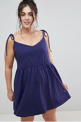 AU15 • Buy 50% OFF ASOS DESIGN Curve Mini Smock Sundress With Tie Straps Size 18