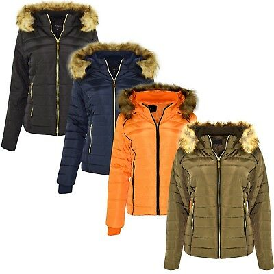 New Womens Ladies Quilted Winter Coat Puffer Fur Hooded Jacket Parka 4 Colours • 24.99£