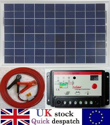 30w PV Solar Panel + 10A PWM Charger Controller +7m Cable Clips Fuse 12v Battery • 49.85£