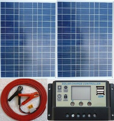 £89.65 • Buy 2 X 30w = 60w Solar Panel +7m Cable + 10A Charger Controller For 24v 12v Battery