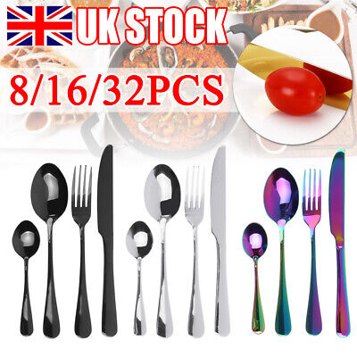 £14.99 • Buy 8/16/32pcs Stainless Steel Cutlery Sets Rainbow Colorful  Fork  For Dining UK