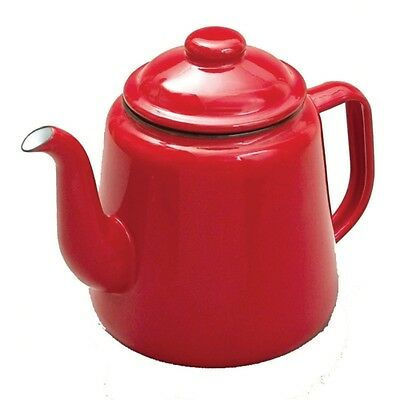 Falcon RED Enamel Tea Pot With Handle & Lid Teapot - Camping   • 18.95£