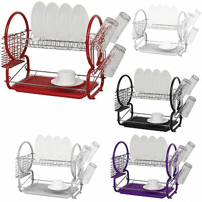 2 Tier Chrome Metalic Dish Drainer Cutlery Cup Plates Holder Sink Rack Drip Tray • 11.99£