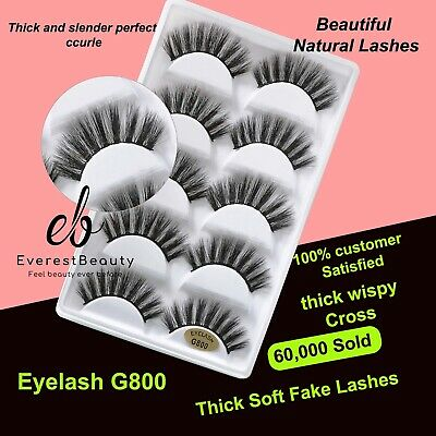 💙NEW 5 Pair 3D Mink False Eyelashes Wispy Cross Long Thick Soft Fake Eye Lashes • 4.19£