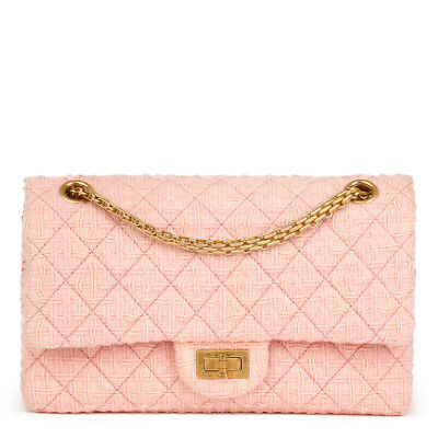 c05879a7cff8 Chanel Pink Quilted Tweed 2.55 Reissue 225 Double Flap Bag Hb2171 •  3
