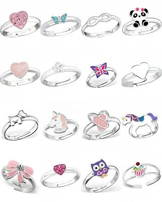 £7.75 • Buy Kids Girls Childrens 925 Sterling Silver Adjustable Ring Pink Unicorn Butterfly