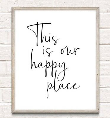 Our Happy Place Typography Print Poster Family Love Unframed Home Quote Gift • 3.75£