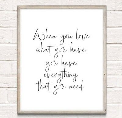 Everything You Need Typography Print Poster Family Love Unframed Home Quote Gift • 4.49£
