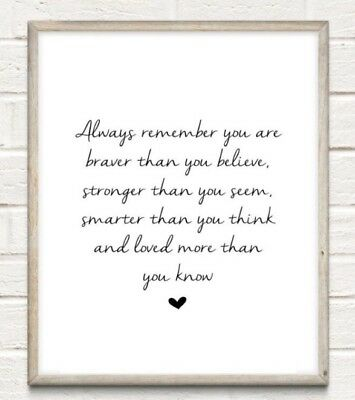 Strong Smart Nursery Typography Print Poster Family Love Unframed Home Quote • 4.49£