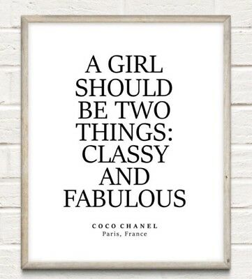 Coco Chanel Classy Fabulous Fashion Typography Print Poster Unframed Home Quote • 3.75£
