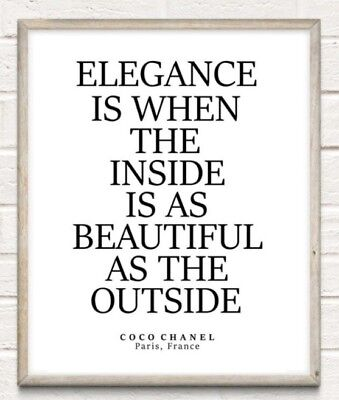 Coco Chanel Elegance Beauty Fashion Typography Print Poster Unframed Home Quote • 4.49£