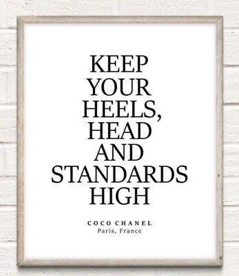 Coco Chanel Head Heels High Fashion Typography Print Poster Unframed Home Quote • 4.49£