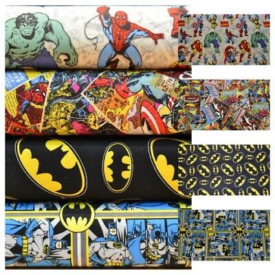 Super Heroes Batman Avengers Marvel DC Comics 100% Cotton Fabric Material VT • 6.99£