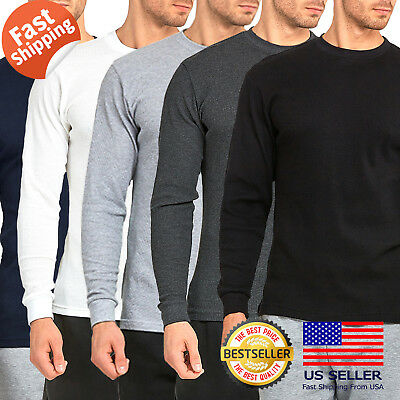 $12.95 • Buy Mens 100% COTTON Medium Weight Thermal Shirts Warm Winter Long Sleeve Fit