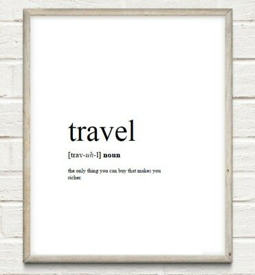 Travel Definition Typography Print Poster Wanderlust Unframed Home Quote • 4.49£