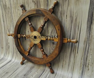 18 Nautical Wooden Ship Steering Wheel Pirate Decor Wood Brass Fishing Wall Boat • 27.99£