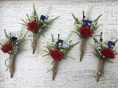 £7.95 • Buy Scottish Thistle Red Rose Buttonhole, Rustic Hessian Vintage Wedding Flowers X1