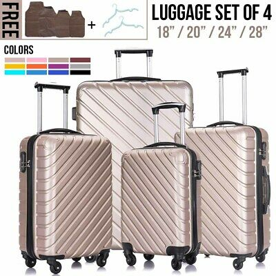 """View Details 3/4/5Pcs Travel Luggage Set Bag Trolley Spinner Suitcase ABS W/Lock 18""""20""""24""""28"""" • 88.90$"""
