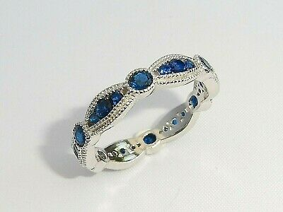 £32.99 • Buy  Ladies Art Deco Style 925 Sterling Solid Silver Blue Sapphire Eternity Ring
