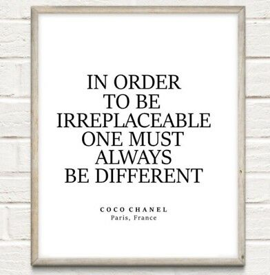 £4.75 • Buy Coco Chanel Irreplaceable Fashion Typography Print Poster Unframed Home Quote