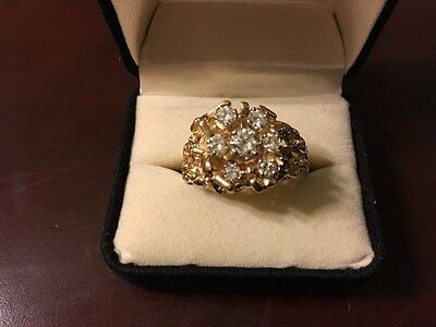 $2000 • Buy Large Mens Gold Nugget Diamond Cluster Ring, One Of A Kind