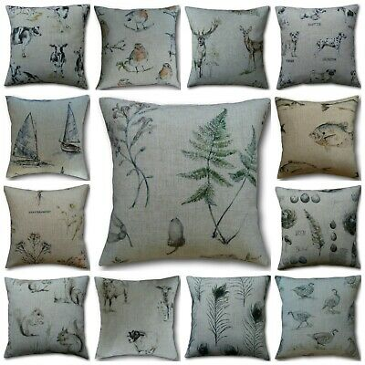 Country Animal Print Cushion Cover Stags Cow Pheasant Sheep Robin Chestnut Fish • 7.95£