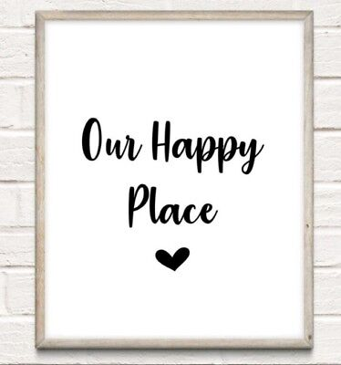 Our Happy Place Typography Print Poster Family Love Unframed Home Quote Gift • 4.49£