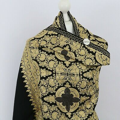 £46.80 • Buy Black Gold Indian Embroidered Shawl Stole 100% Pashmina Wool Scarf Floral Wraps
