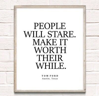 Tom Ford Fashion Typography Print Poster Unframed Home Quote Dressing Room • 4.49£