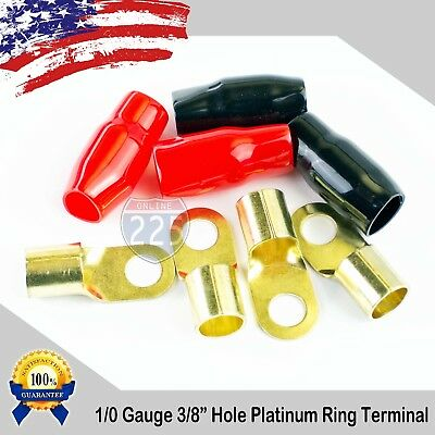 AU11.47 • Buy 0 Gauge GOLD Ring Terminal 4 Pack 1/0 AWG Wire Crimp Black And Red Boot 3/8  USA