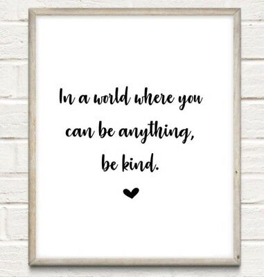 Be Kind Typography Print Poster Nursery Nice Unframed Home Quote Gift • 4.49£