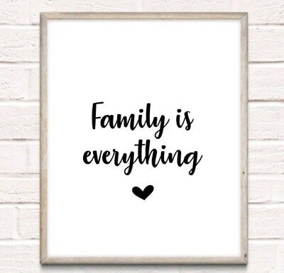 Family Is Everything Typography Print Poster Love Unframed Home Quote  • 3.49£
