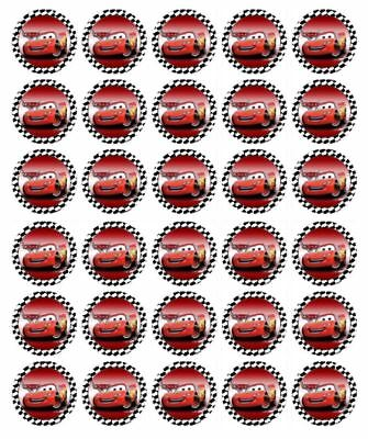 Lightning McQueen 30 Edible Wafer Paper Cupcake Toppers Birthday Cake Decoration • 4.44£