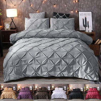 AU28.66 • Buy Diamond Pintuck Duvet/Doona/Quilt Cover Set Single Queen King Size Bed Supersoft
