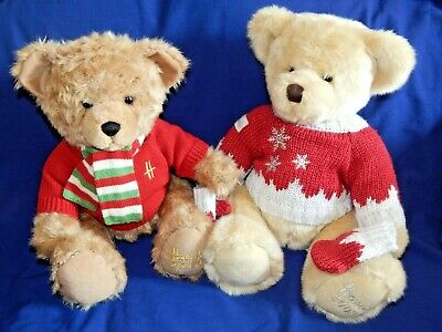 HARRODS CHRISTMAS SOFT PLUSH BEARS 'OSCAR' 2008 OR 'ARCHIE' 2010 - Please Choose • 19.95£
