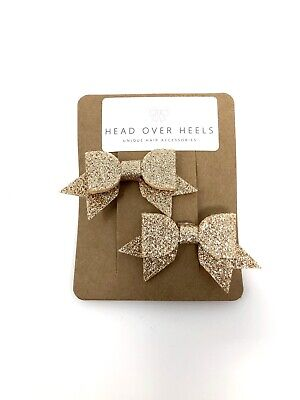 £4.39 • Buy Gold Sparkly Bow Hair Clips X2 Girls Xmas Party Bridesmaid Flowergirl