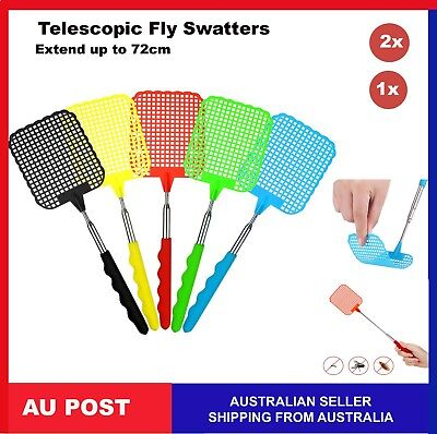 AU7.99 • Buy Telescopic Fly Swatter Bug Extendable Home Office Pest Control Flyswatter