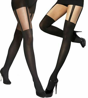 £5.39 • Buy Patterned Tights Adrian Monique Size S - XXL 40 / 20 Den Mock Stockings