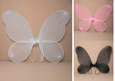 £3.55 • Buy Large Adult / Childrens Net Fairy Wings With Silver Glitter Fancy Dress Up
