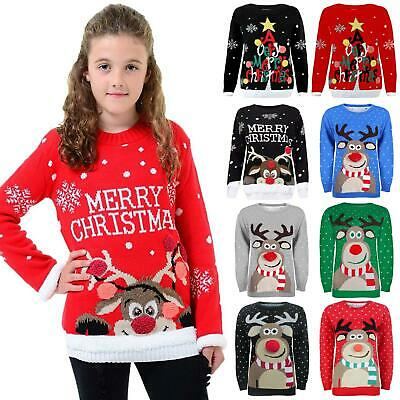 Boys Girls Kids Christmas Novelty Reindeer Rudolph 3D Knitted Jumper Sweater Top • 10.95£