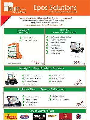 EPOS Software Takeaway, With Menu Setup • 99£