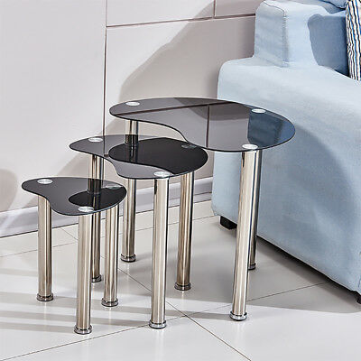 Modern Glass Nest Of 3 Tables Black Nested Side End Corner Sofa Table Set Cara • 42.99£