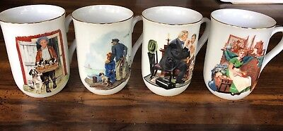 $ CDN9.52 • Buy Vintage Mug Set Inspired By Norman Rockwell The Museum 1986