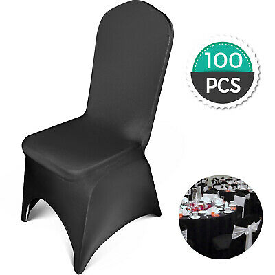 $129.96 • Buy Universal 100 Pcs Polyester Spandex Wedding Chair Covers Arched Front Black