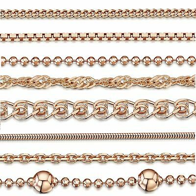 Amberta Genuine Rose Gold Plated On 925 Sterling Silver Necklace Chain Italy • 7.89£