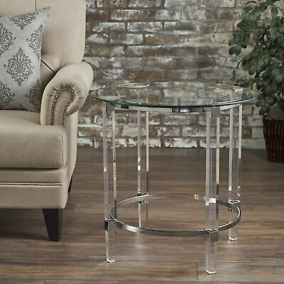 $136.49 • Buy Orson Acrylic And Tempered Glass Square Circular End Table