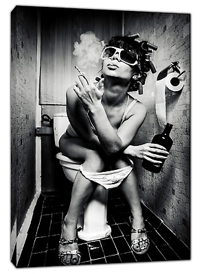 Girl In Toilet Drinking And Smoking Picture Print On Framed Canvas Wall Art • 10.49£