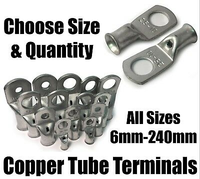 £10.89 • Buy Copper Tube Terminals Battery Welding Cable Lug Ring Crimp Eyelets 6mm² - 240mm²