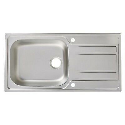 Cooke & Lewis Lyell 1 Bowl Linen Finish Stainless Steel Sink & Drainer • 99.99£