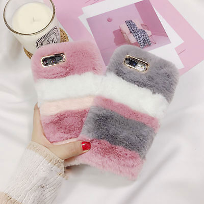 Girls Soft Warm Plush Fluffy Phone Case Cover Comfy Faux Fur For IPhone • 3.50£